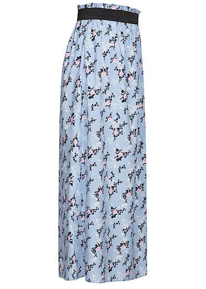 Styleboom Fashion Damen Paperbag Longform Rock Blumen Print baby blau rosa