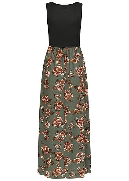 Styleboom Fashion Damen 2-Tone Maxi Kleid Blumen Muster schwarz khaki grün