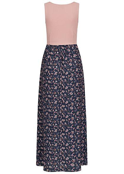 Styleboom Fashion Damen 2-Tone Maxi Kleid Blumen Muster old rosa navy blau