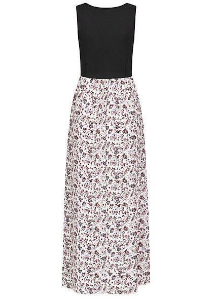 Styleboom Fashion Damen 2-Tone Maxi Kleid Blumen Muster schwarz weiss
