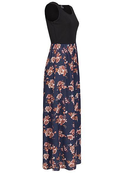 Styleboom Fashion Damen 2-Tone Maxi Kleid Blumen Muster schwarz navy blau