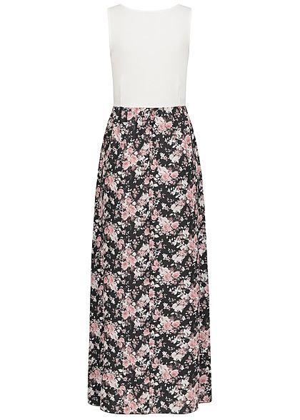 Styleboom Fashion Damen 2-Tone Maxi Kleid Blumen Muster weiss schwarz