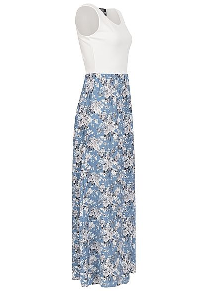 Styleboom Fashion Damen 2-Tone Maxi Kleid Blumen Muster weiss hell blau