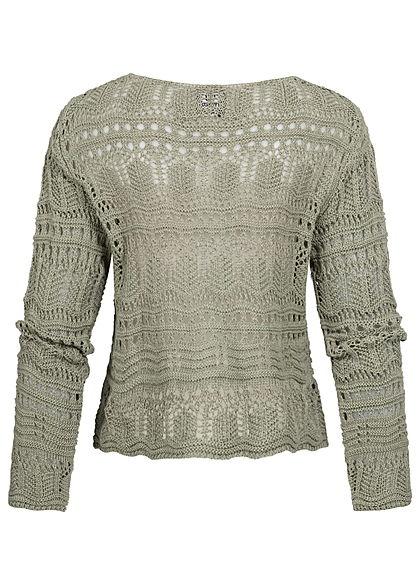 Styleboom Fashion Damen V-Neck Grobstrick Pullover Raffung vorne khaki grün
