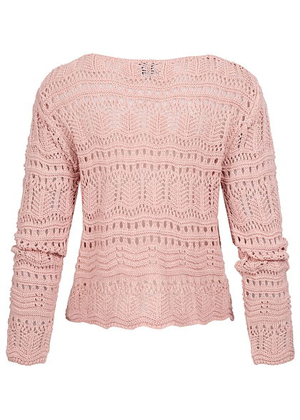 Styleboom Fashion Damen V-Neck Grobstrick Pullover Raffung vorne rosa
