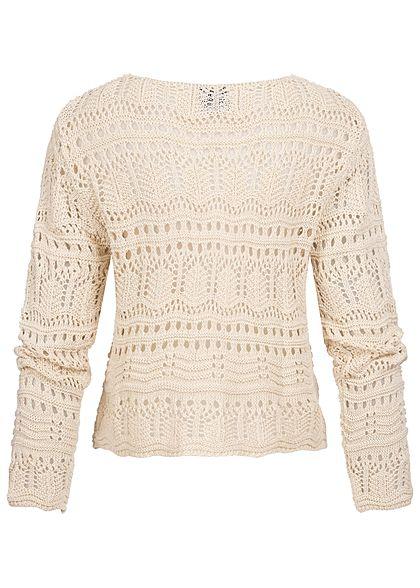 Styleboom Fashion Damen V-Neck Grobstrick Pullover Raffung vorne beige