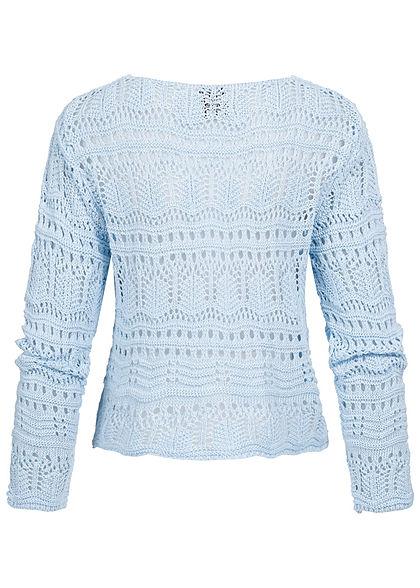 Styleboom Fashion Damen V-Neck Grobstrick Pullover Raffung vorne hell blau