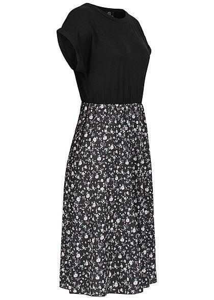 Styleboom Fashion Damen T-Shirt Kleid Ditsy Blumen Print schwarz