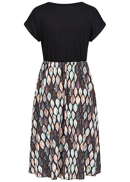 Styleboom Fashion Damen T-Shirt Kleid Blätter Print schwarz