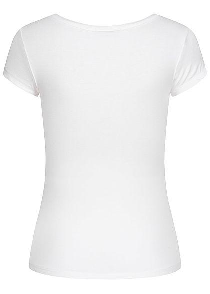 Seventyseven Lifestyle Damen Basic T-Shirt mit Knopfleiste weiss