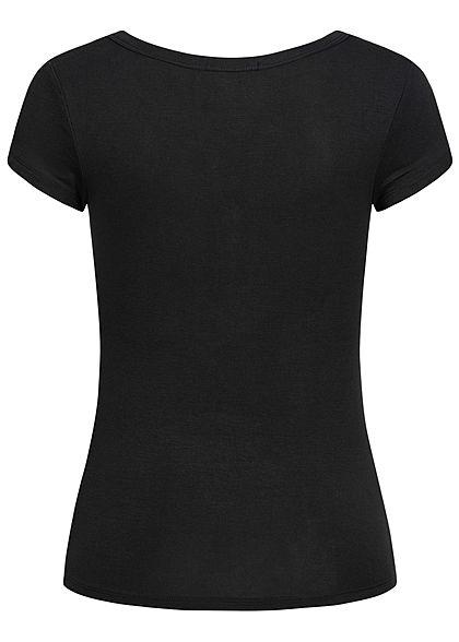Seventyseven Lifestyle Damen Basic T-Shirt mit Knopfleiste schwarz