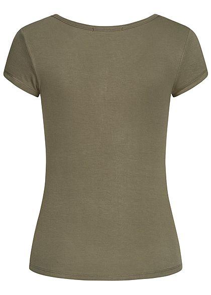 Seventyseven Lifestyle Damen Basic T-Shirt mit Knopfleiste khaki grün
