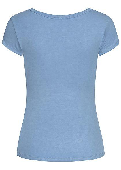 Seventyseven Lifestyle Damen Basic T-Shirt mit Knopfleiste blau