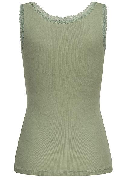 Seventyseven Lifestyle Damen Ribbed V-Neck Top mit Spitzenbesatz hedge grün