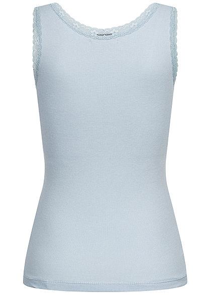 Seventyseven Lifestyle Damen Ribbed V-Neck Top mit Spitzenbesatz hell blau