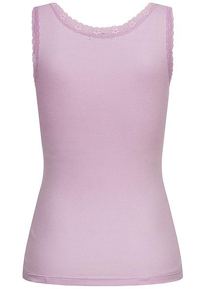 Seventyseven Lifestyle Damen Ribbed V-Neck Top mit Spitzenbesatz hell lavender