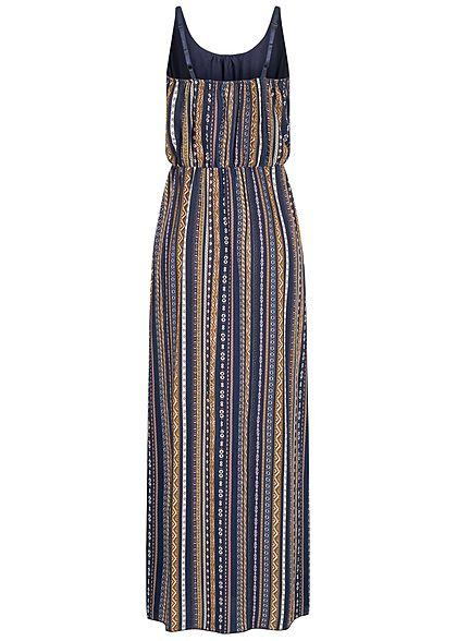 Hailys Damen Viskose Maxi Kleid Taillengummibund All Over Streifen Print navy blau