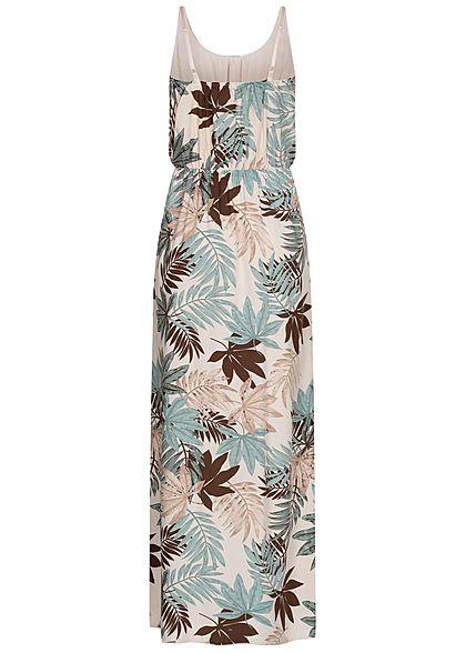 Hailys Damen Viskose Maxi Kleid Taillengummibund Tropical Print off weiss grün