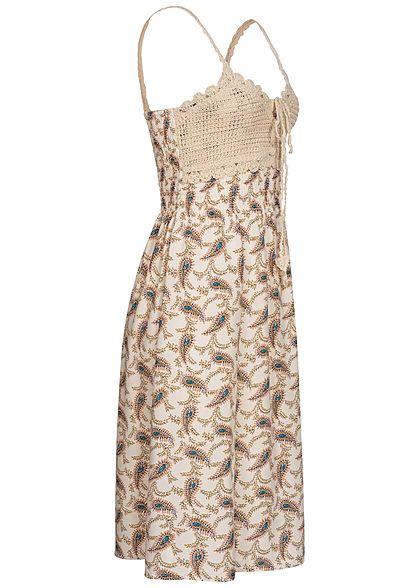 Hailys Damen V-Neck Viskose Kleid Häkelbesatz Paisley Print off weiss