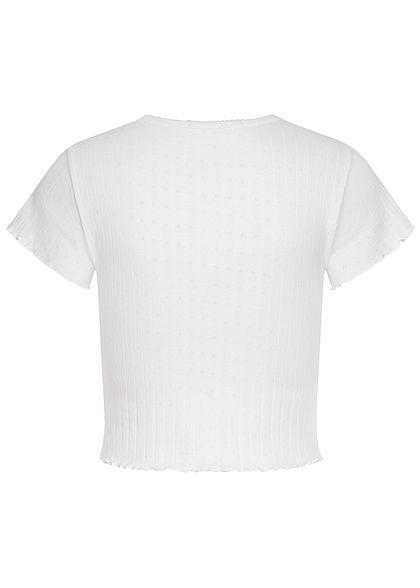 Hailys Damen Frill T-Shirt Struktur Stoff off weiss