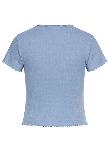 Hailys Damen Frill T-Shirt Struktur Stoff blau