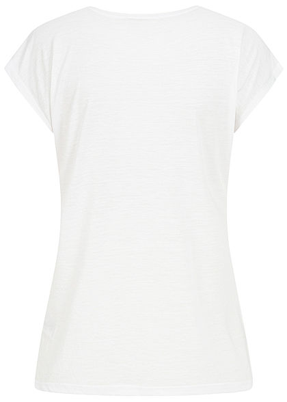 Hailys Damen T-Shirt Follow Print Paillettenbesatz weiss gold