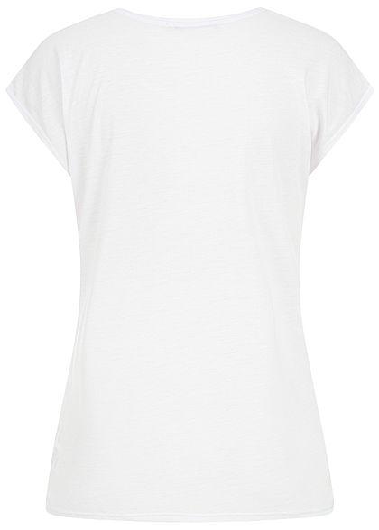 Hailys Damen T-Shirt Love Print Paillettenbesatz weiss kupfer