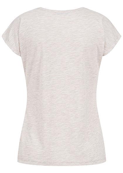 Hailys Damen T-Shirt Perfect Metallic Print marl beige