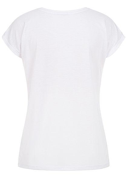 Hailys Damen T-Shirt Beautiful Feder Print Paillettenbesatz weiss