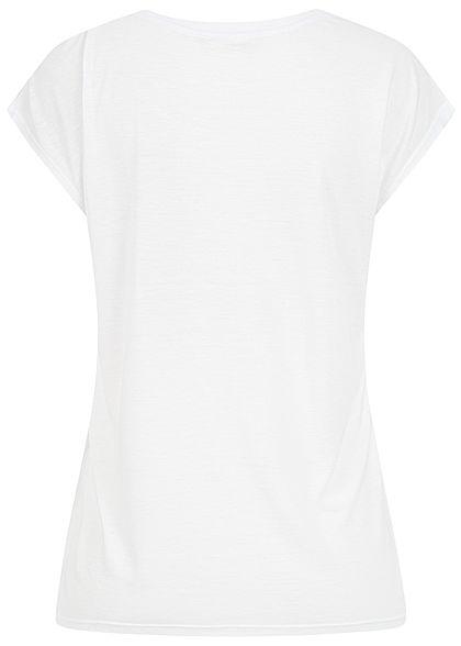 Hailys Damen T-Shirt Summer Palme Print Paillettenbesatz weiss