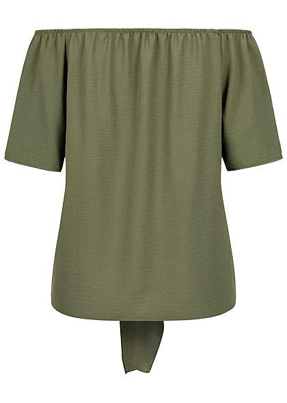 Hailys Damen Off-Shoulder Blusen Shirt Bindedetail vorne Deko Knopfleiste khaki grün