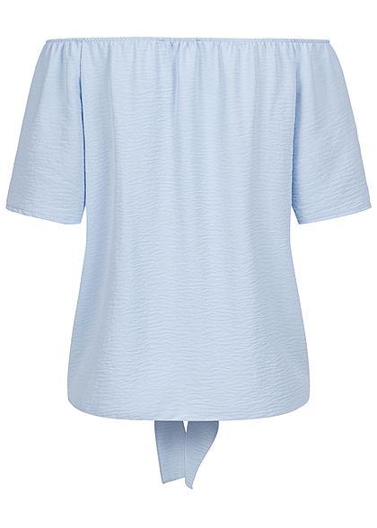 Hailys Damen Off-Shoulder Blusen Shirt Bindedetail vorne Deko Knopfleiste hell blau