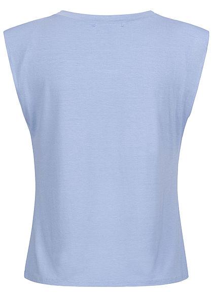Hailys Damen Viskose Top mit Schulterpolstern hell blau