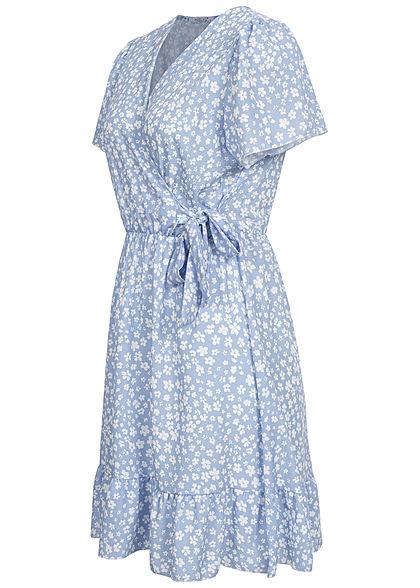 Hailys Damen V-Neck Mini Kleid Wickeloptik Volant Blumen Muster hell blau weiss