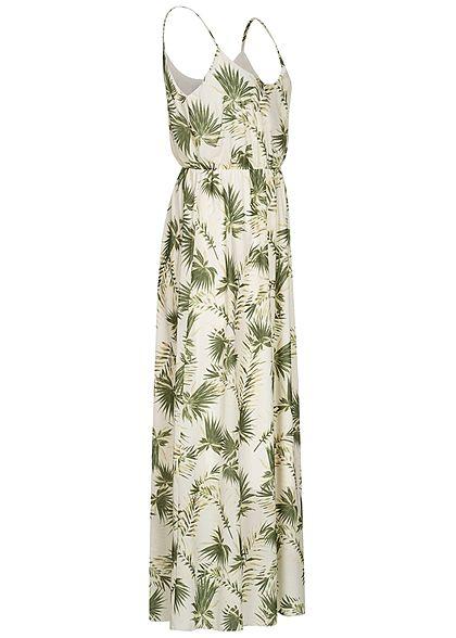 Hailys Damen Maxi Kleid Taillengummibund Tropical Print weiss grün