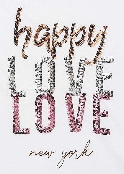 Hailys Damen Casual T-Shirt Happy LOVE Paillettenbesatz weiss