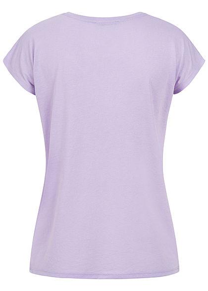 Hailys Damen T-Shirt Beautiful Feder Print Paillettenbesatz lavender lila