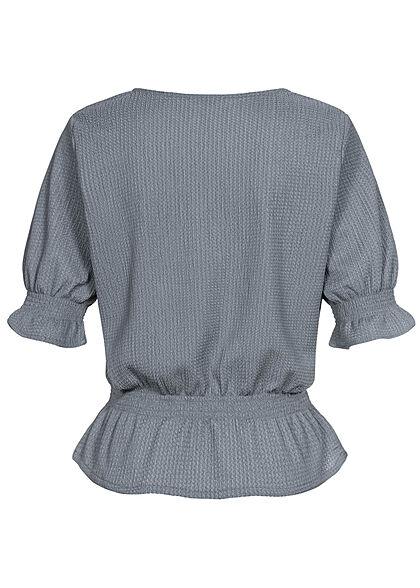 Stitch & Soul Damen 3/4-Arm V-Neck Puffer Bluse tradewinds grau blau