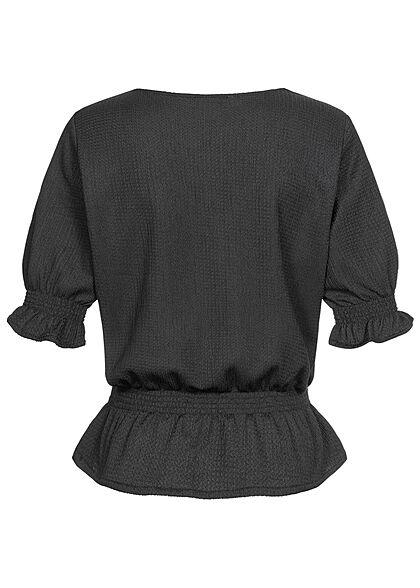 Stitch & Soul Damen 3/4-Arm V-Neck Puffer Bluse schwarz