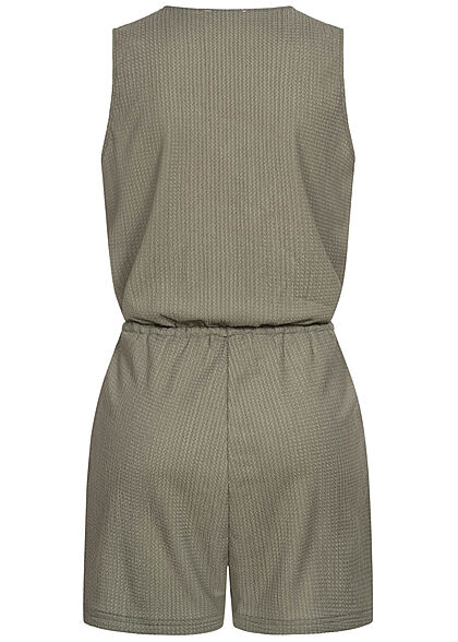 Stitch & Soul Damen kurzer V-Neck Jumpsuit Wickeloptik 2-Pockets dried sage grün