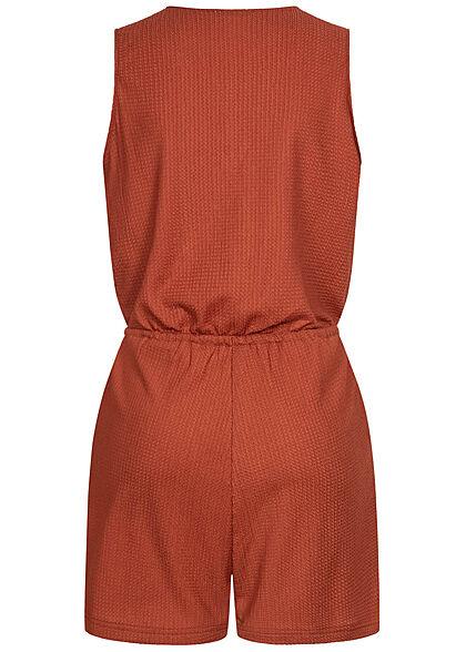 Stitch & Soul Damen kurzer V-Neck Jumpsuit Wickeloptik 2-Pockets vintage rot