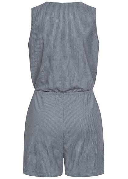 Stitch & Soul Damen kurzer V-Neck Jumpsuit Wickeloptik 2-Pockets tradewinds grau blau