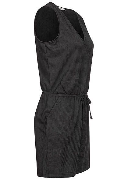 Stitch & Soul Damen kurzer V-Neck Jumpsuit Wickeloptik 2-Pockets schwarz