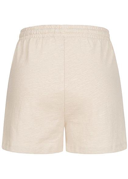 Stitch & Soul Damen Shorts Tunnelzug Mini Herz Print 2-Pockets nude beige