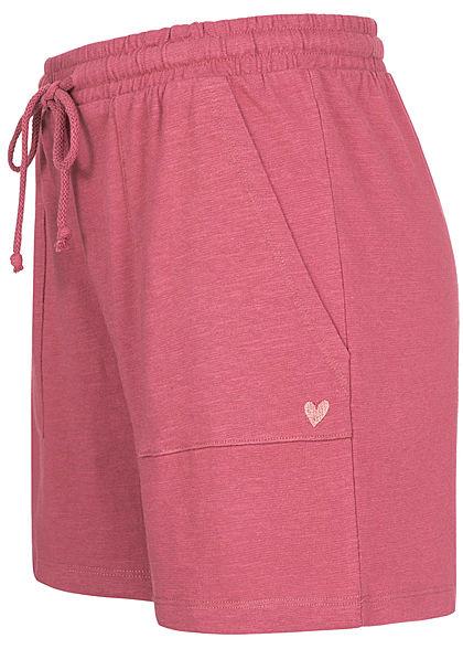 Stitch & Soul Damen Shorts Tunnelzug Mini Herz Print 2-Pockets berry pink