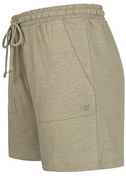 Stitch & Soul Damen Shorts Tunnelzug Mini Herz Print 2-Pockets dried sage grün