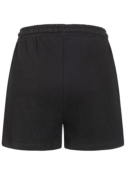 Stitch & Soul Damen Shorts Tunnelzug Mini Herz Print 2-Pockets schwarz