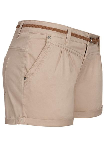 Sublevel Damen kurze Shorts 4-Pockets inkl. Flechtgürtel Beinumschlag string beige