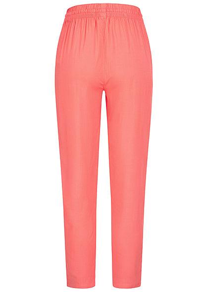 Sublevel Damen Viskose Sommer Stoffhose 2-Pockets mit Tunnelzug intense coral pink