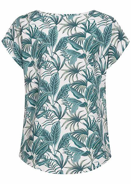 Sublevel Damen Viskose Sommer Bluse Vokuhila Tropical Print off weiss leaf grün